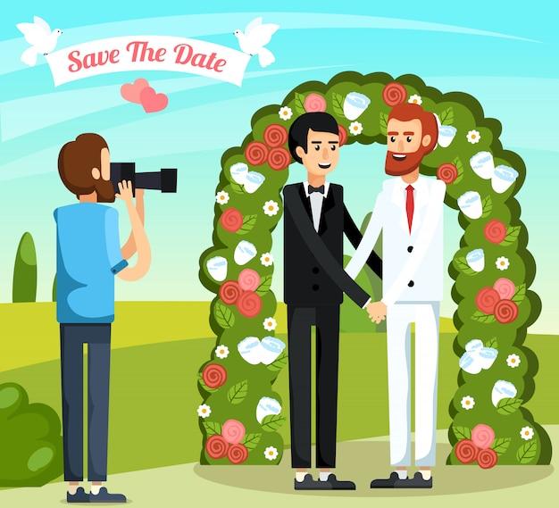 平らな結婚式の人々直交組成