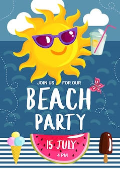 Летняя пляжная вечеринка плакат