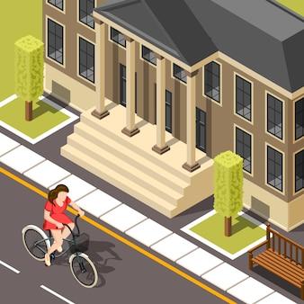 Велосипедист изометрические фон