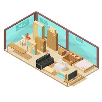 ガラス張りの壁とウォールキャビネット、ソファとダブルベッドが備わる等尺性家具店