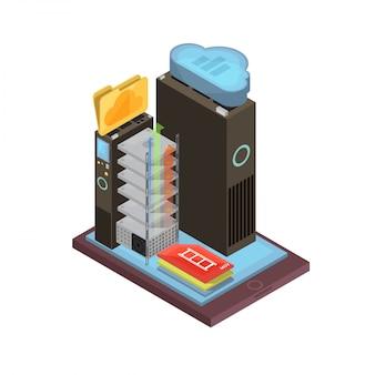 Изометрический дизайн облачного хранилища с видеофайлами и папками, серверными стойками на экране мобильного устройства