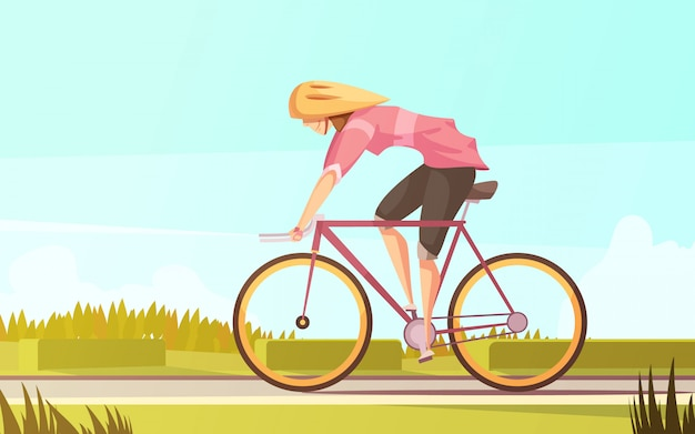 Спортсменка в стиле ретро мультфильм с плоским женским характером