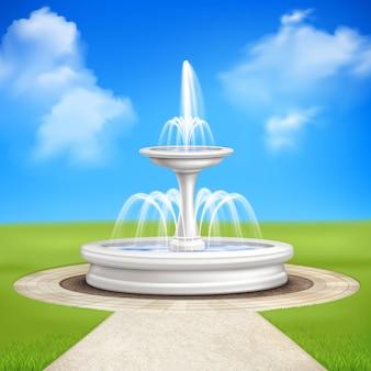 庭のヴィンテージの組成の噴水