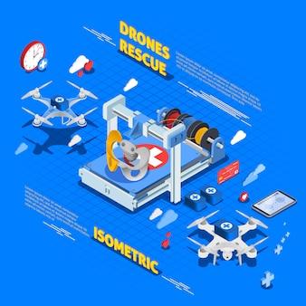 Спасательные дроны изометрическая композиция