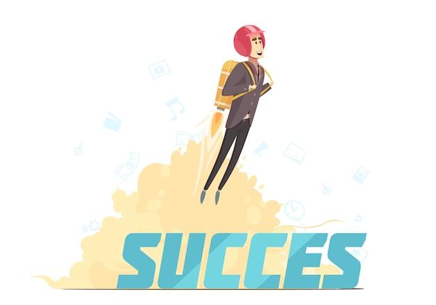 Бизнес запуск успех символический плакат