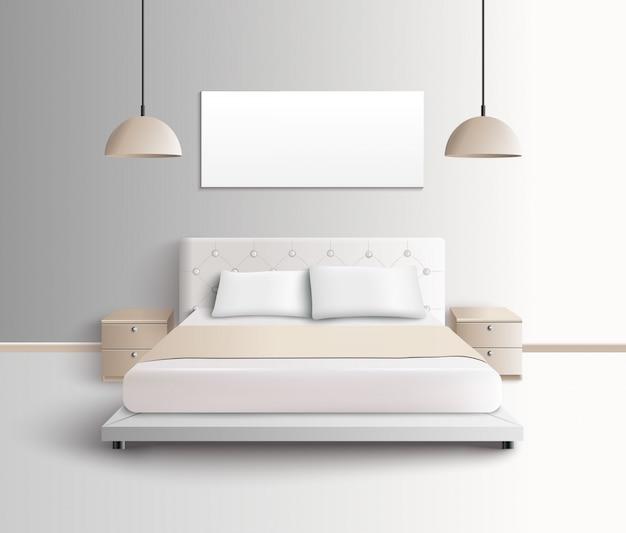 モダンなベッドルームのインテリア構成