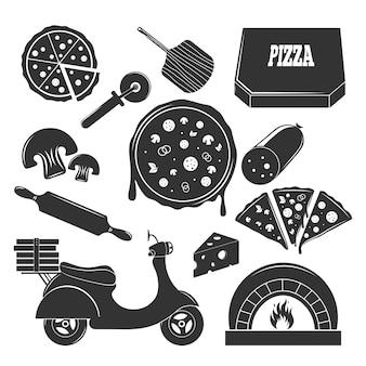 Пиццерия монохромный набор элементов