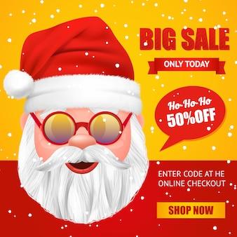 Санта-клаус рождественская распродажа баннер