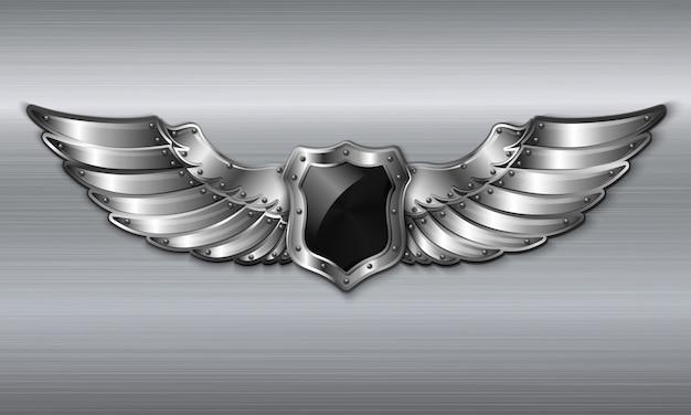 Черная металлическая крылатая эмблема
