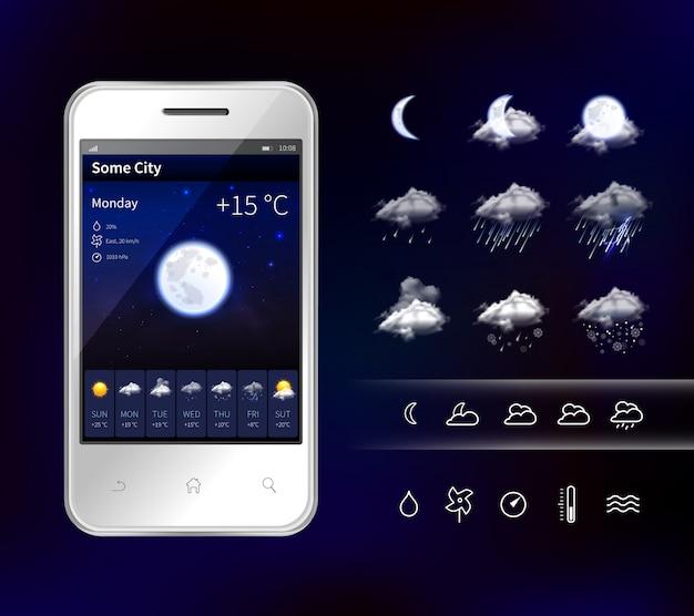 Смартфон мобильный погода реалистичное изображение