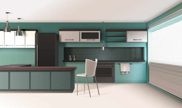 Композиция интерьера современной кухни