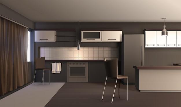 現実的なスタイルのアパートキッチン