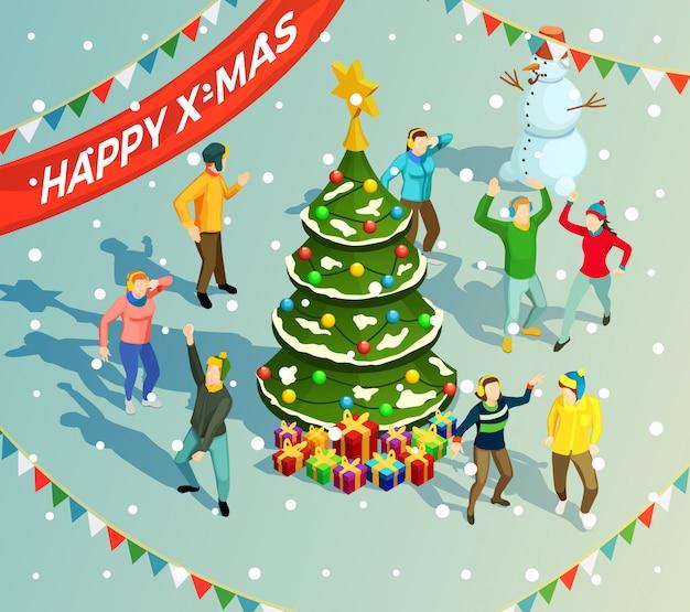 Изометрические рождество иллюстрация