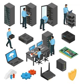 Изометрический набор оборудования центра обработки данных