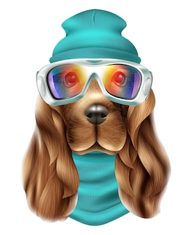 現実的なスパニエル犬スキースーツの肖像画