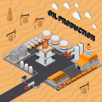Изометрическая иллюстрация добычи нефти