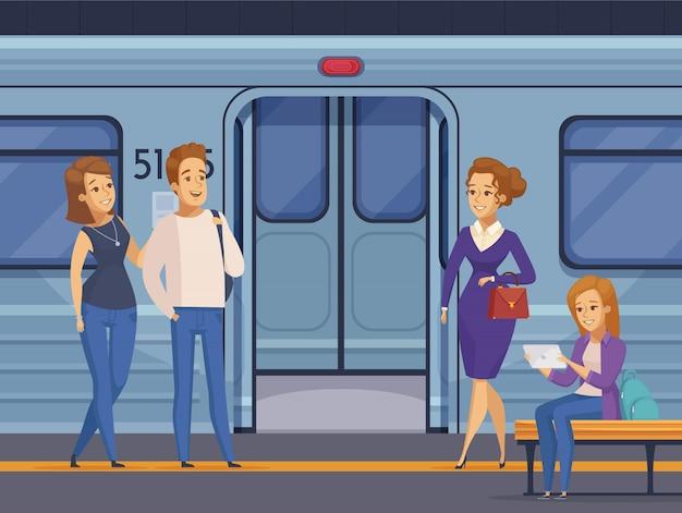 地下鉄の地下鉄駅の乗客の漫画