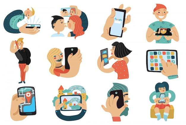 携帯電話セットを持つ人々