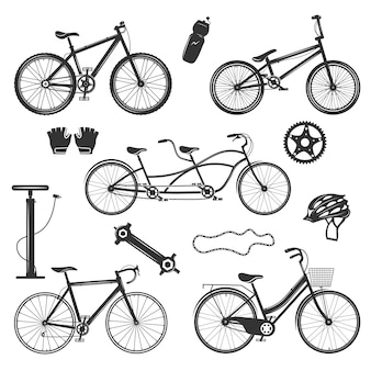 Набор старинных элементов велосипедов