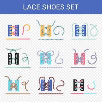 Набор способов шнуровки обуви