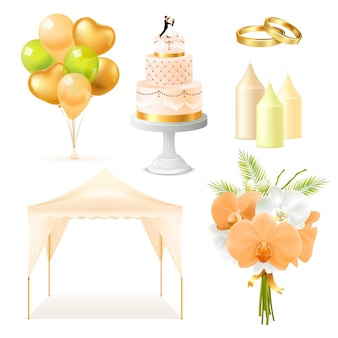 現実的な結婚式の要素セット