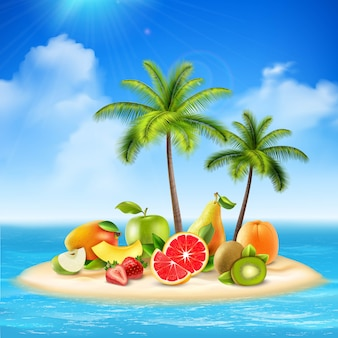 Реалистичный остров, полный фруктов