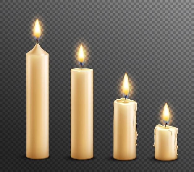 Горящие свечи реалистичный прозрачный фон
