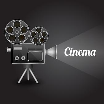 レトロカメラプロジェクターのベクトル図とシネマエンターテイメントの概念ポスターレイアウトテンプレート