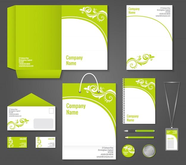 企業のアイデンティティとブランディングのベクトル図を設定するための緑の花の波状のビジネス文房具のテンプレート