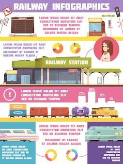 Железнодорожный инфографика плоский шаблон