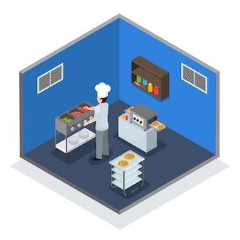 Профессиональный кухонный интерьер изометрическая композиция