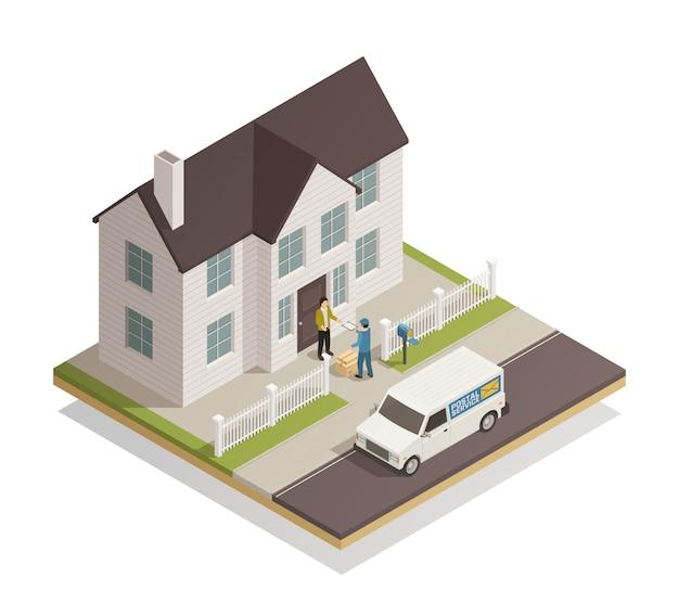 Почтовая служба доставки изометрические