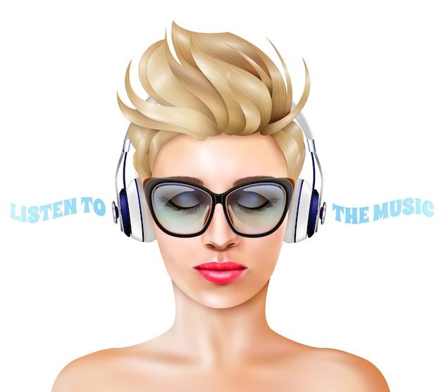 ヘッドフォンのイラストを持つ女性