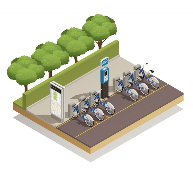 Прокат велосипедов изометрические концепция дизайна