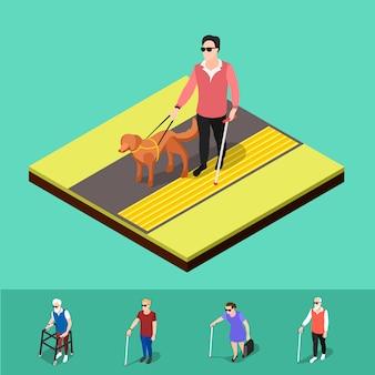 屋外の視覚障害者