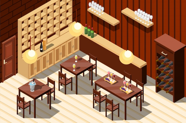 ワインレストランのインテリア