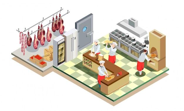 Кухня ресторана изометрическая композиция