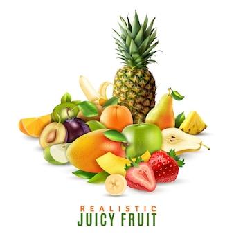 Реалистичная иллюстрация сочных фруктов