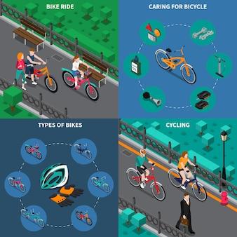 Велосипедные сцены изометрические набор