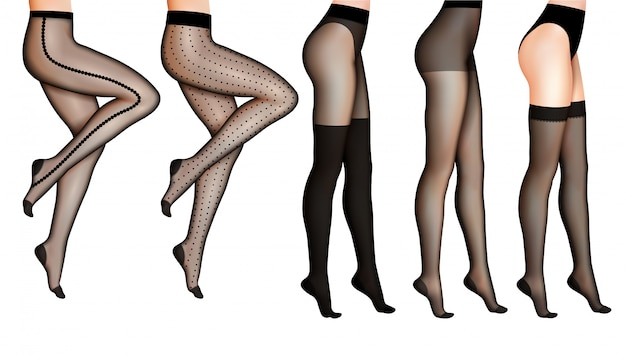 Женские ноги и чулки реалистичные иллюстрации