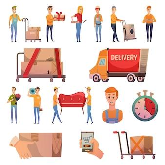 Набор ортогональных иконок курьерской доставки