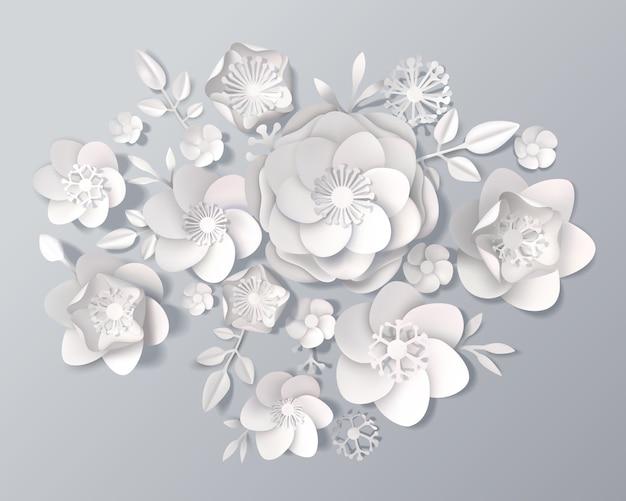 Набор реалистичных белых бумажных цветов