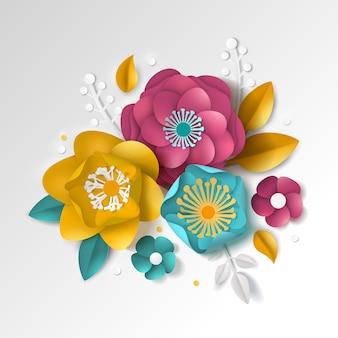 Реалистичная бумага цветочные