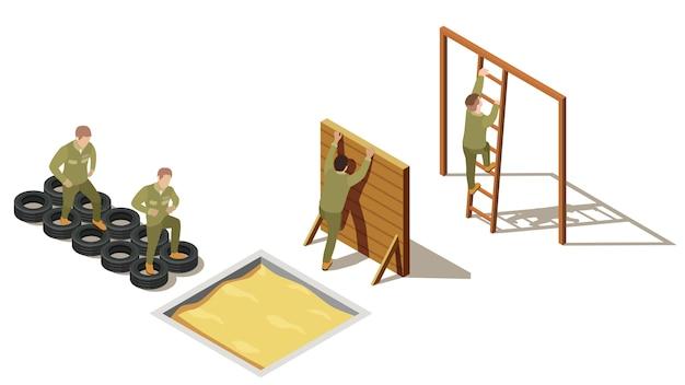 Военная подготовка новобранцев изометрическая композиция