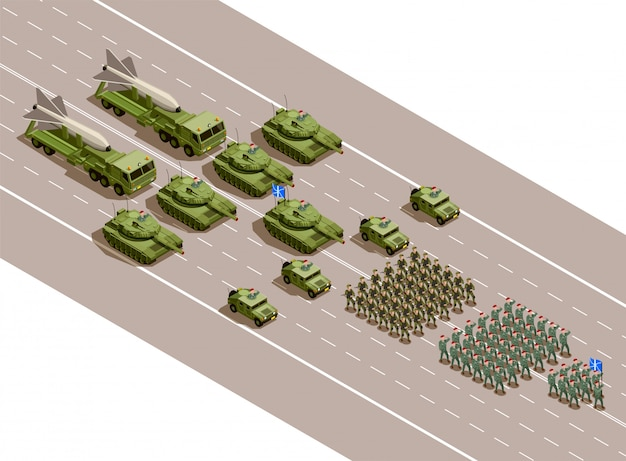 Военный парад изометрической композиции