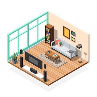 リビングルームアパートメントのインテリア