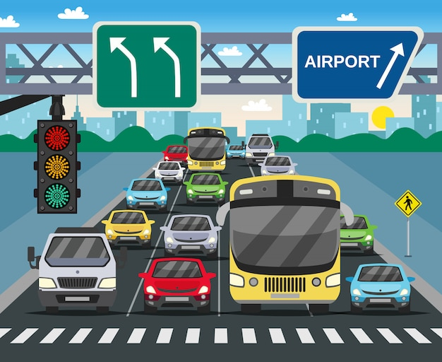 Красный светофор с плоским иллюстрация