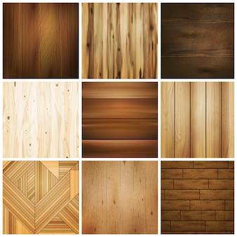 木製の床タイルセット