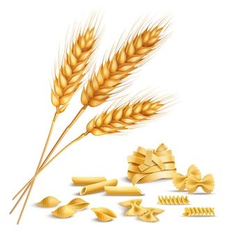 現実的な小麦の穂とパスタ