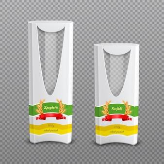 Реалистичные макаронные пакеты прозрачный фон